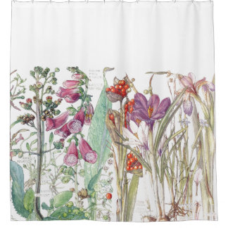 Botanical Crocus Foxglove Flowers Shower Curtain