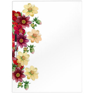 Botanical Dahlia Flowers Floral Message Board Dry Erase White Board