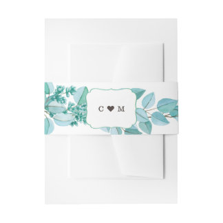 Botanical Eucalyptus Green Leaves Belly Band Invitation Belly Band