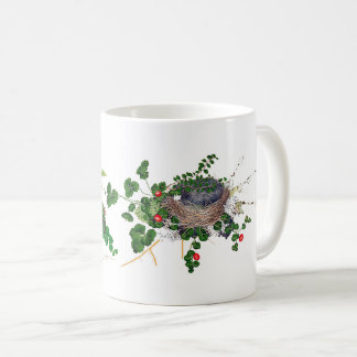 Botanical Ferns Vine Birds Nest Red Flowers Mug