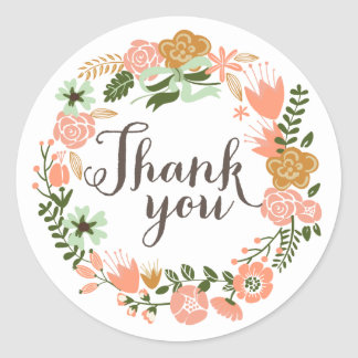 Botanical Floral Bridal Shower Thank You Round Sticker