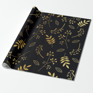 Botanical Floral Leaves Faux Gold Foil Black