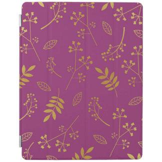 Botanical Floral Leaves Faux Gold Foil Purple iPad Cover