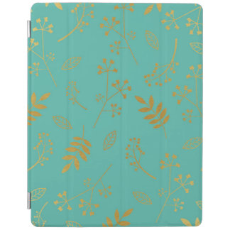 Botanical Floral Leaves Faux Gold Foil Teal Blue iPad Cover