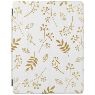 Botanical Floral Leaves Faux Gold Foil White iPad Cover