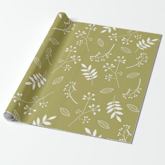 Botanical Floral Leaves Greenery Olive Green Wrapping Paper