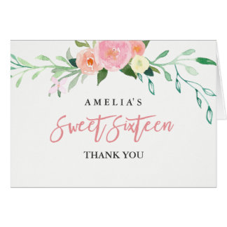 Botanical Floral Watercolor Sweet 16 Thank You Card