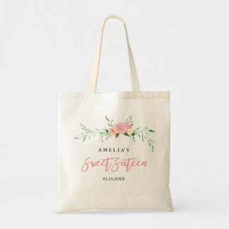 Botanical Floral Watercolor Sweet Sixteen Tote Bag