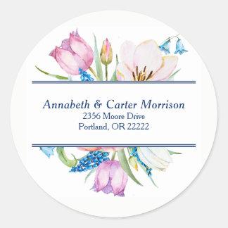 Botanical Flowers Envelope Seal Round Sticker