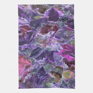 Botanical Foliage Leaf Pattern Pink Purple Tea Towel