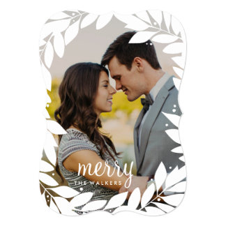 Botanical Frame Newlywed Holiday Photo Card
