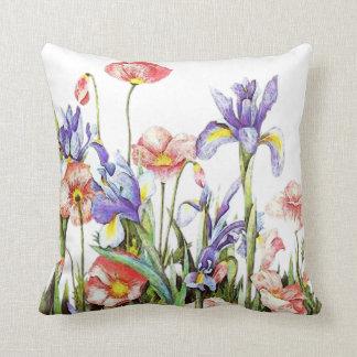 Botanical Garden Flowers Arstry Poppies & Iris Throw Pillow