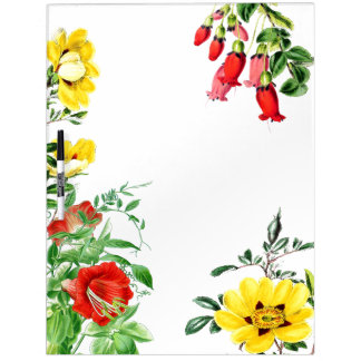Botanical Garden Flowers Floral Message Board Dry-Erase Board