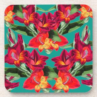 Botanical Gladiola Floral Flowers Coaster