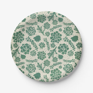 Botanical Green Succulents in Natural Garden Paper Plate
