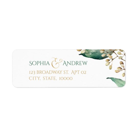 Botanical greenery rustic wedding return address return address label