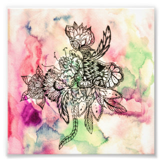 Botanical handdrawn abstract watercolor paint photo print