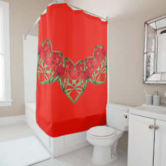 Botanical Hearts of Gladiolas Flowers Floral Shower Curtain
