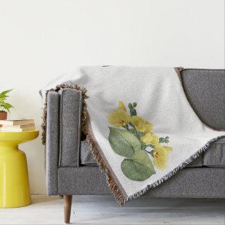 Botanical Hibiscus Flowers Leaves Throw Blanket