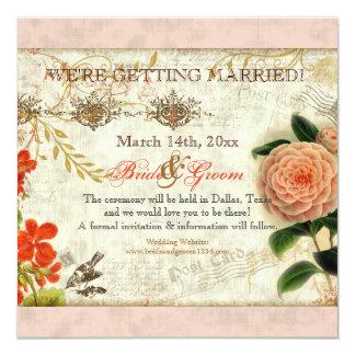 Botanical Hummingbirds Camellia Save the Date 13 Cm X 13 Cm Square Invitation Card