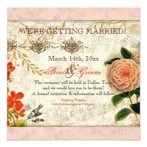 Botanical Hummingbirds Camellia Save the Date Personalized Invites