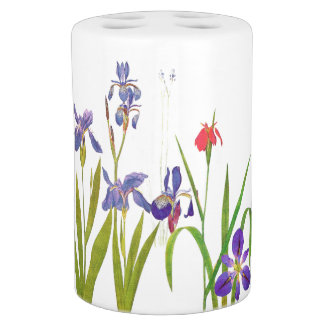 Botanical Iris Flowers Floral Garden Bath Set