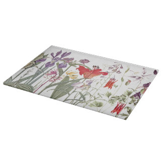 Botanical Iris Lily Flowers Floral Cutting Board