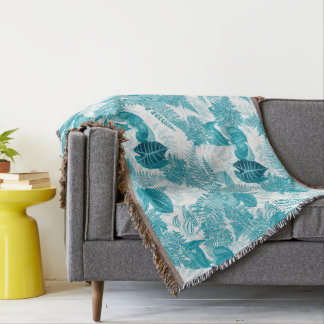 Botanical Jungle Leaves Ferns Flower Throw Blanket