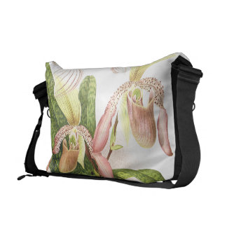 Botanical Ladys Slipper Orchid Flowers Floral Courier Bags