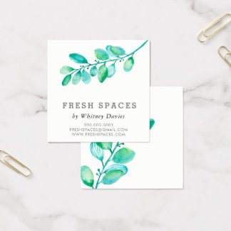BOTANICAL LEAFY BRANCH simple stylish health green Square Business Card