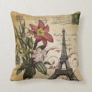 Botanical Lily vintage scripts Paris Eiffel Tower Cushion