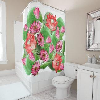 Botanical Lotus Flowers Pond Shower Curtain