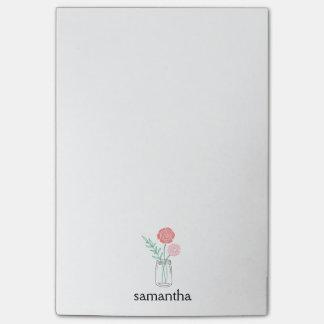 Botanical Mason Jar Flowers Personalized Post-it Notes