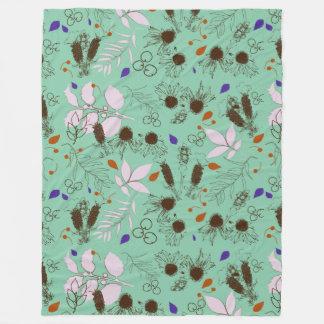 botanical mint fleece blanket