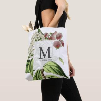 Botanical Monogram Floral Vintage Illustration Tote Bag
