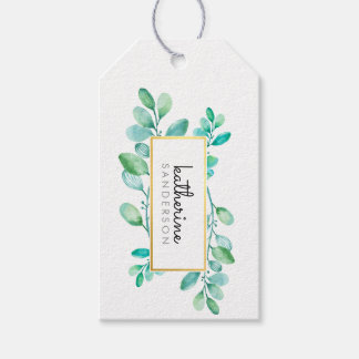 BOTANICAL NATURE modern watercolor painted leaves Gift Tags