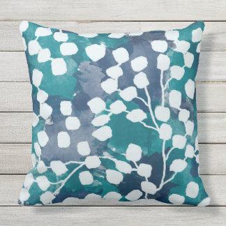 Botanical Outdoor Pillow, Blue Cushion