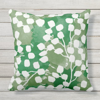 Botanical Outdoor Pillow, Green Cushion