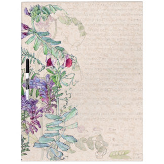 Botanical Pea Flowers Dry Erase Board