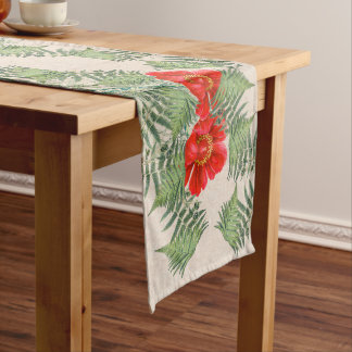Botanical Peony Flowers Fern Leaves Table Runner