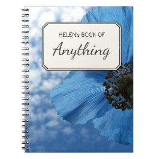 Botanical Photo Blue Poppy Personalized Note Book