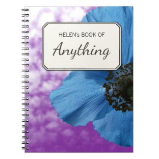 Botanical Photo Blue Poppy Personalized Notebook