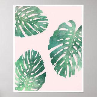 Botanical pink and green monstera leaf poster