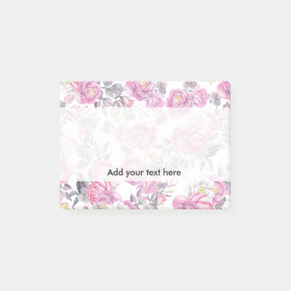 Botanical pink gray watercolor romantic roses post-it notes