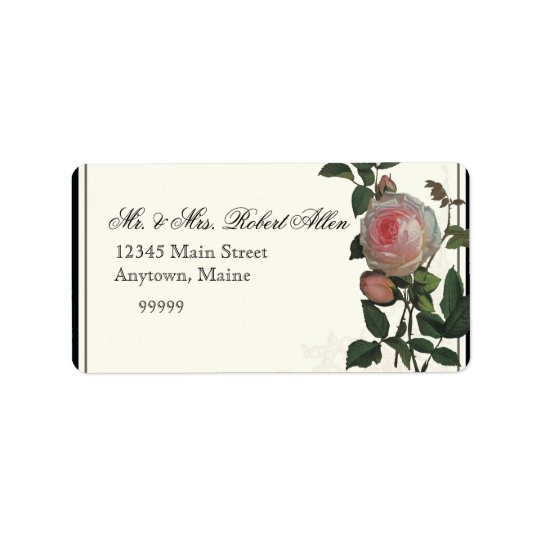 Botanical Pink Rose, Black - Return Address Labels