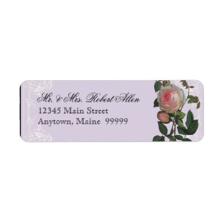 Botanical Pink Rose, Lilac - Return Address Labels