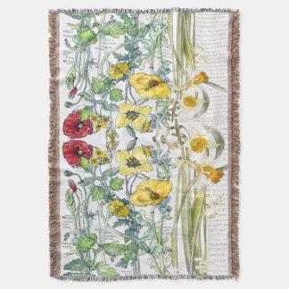 Botanical Poppy Narcissus Flowers Throw Blanket