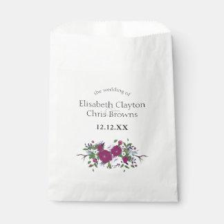 Botanical purple violet flower bouquet wedding favour bags
