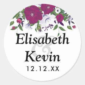 Botanical purple violet flower bouquet wedding round sticker