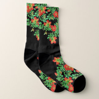Botanical Red Cabbage Rose Flowers Socks 1